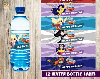 12 DC Super Hero Girls Water Bottle Label instant download, Printable DC Super Hero Girls Water Bottle Label, Super Hero Girls Water Label
