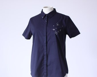 Navy blue shirt short sleeve with hand embroidered symbols patterns