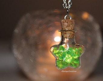 DIAMONDS - STAR bottle Necklace. Bottle charm. Custom diamonds. Cute. Star bottle. Star necklace. Beautiful. handmade. Accessories.