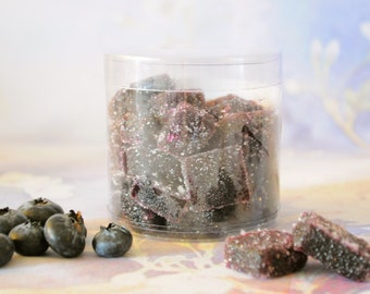 Blueberry Pate de Fruit,  French jelly, Fruit snack, Parisian fruit candy, blueberry preserve