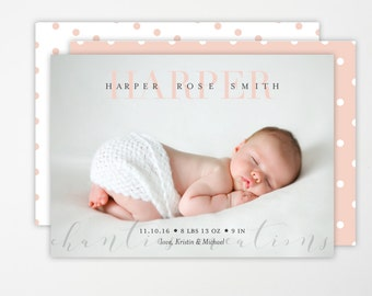 Baby Girl Birth Announcement -Blush Pink Digital or Print