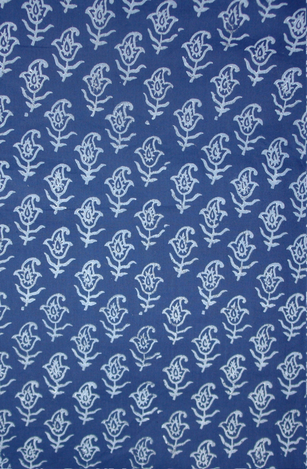 Indigo fabric indigo hand printed fabric printed cotton for Printed cotton fabric