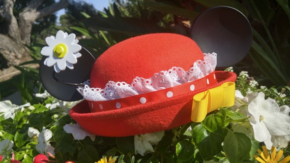 Minnie Ears. Minnie Mouse Ears. Red and White Minnie Hat. Minnie Hat.