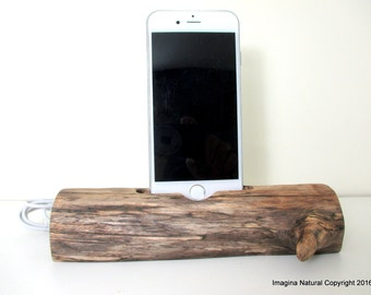 iPhone or Cellphone Driftwood Stand Wooden iPhone Docking Station Reclaimed Drift Wood iPhone Dock Wooden iPhone Cable holder Iphone 3 4 5 6