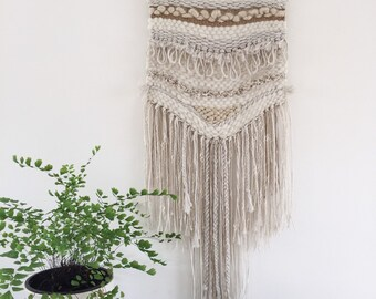 Neutral boho handwoven wall hanging