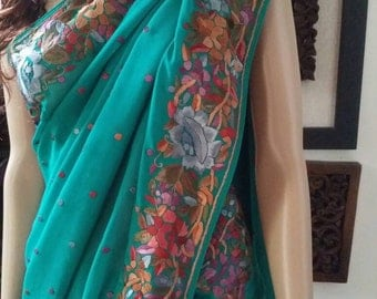 Rama Green Chiffon Hand Embroidered Parsi gara saree with dots all over (Brand New)~Free Shipping