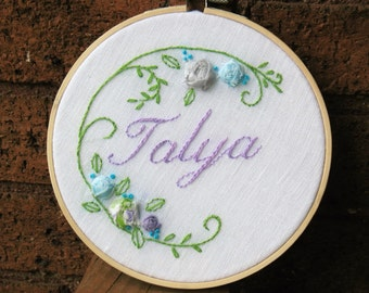 Custom Name Embroidery, Baby hoop art, Baby name hoop art, name hoop art, baby name embroidery, custom name