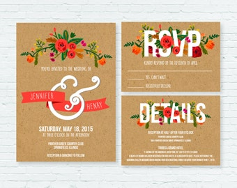 Craft Paper Floral Wedding Invitation Suite // PRINTABLE