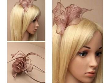 MOCHA Brown Ladies Coiled Sinamay Feather Fascinator Hairband Aliceband Wedding Races Prom