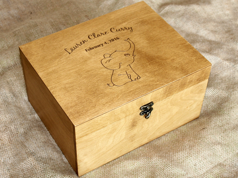 personalized baby memory box baby keepsake box elephant. Black Bedroom Furniture Sets. Home Design Ideas