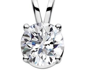 solitaire Pendant 14k White gold Swarovski CZ Cubic Zirconia round  -Swarovski - solitaire necklace - bridal necklace -