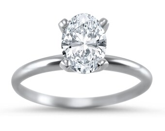14k White Gold Moissanite Solitaire engagement ring  1.0 Carat 7 x 5 2.0 Carat 9 x 7  4 prong Oval Forever ONE
