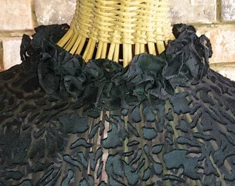 Blouse, Blouse romantic black chiffon devour size 44 / French Vintage