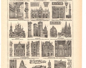 """Vintage """"sepia"""" Architecture illustration""""1930's French dictionary / Digital download"""