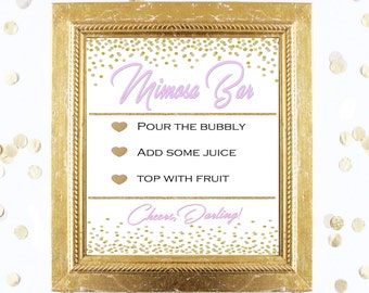 Bridal Shower Game Sign - Mimosa Bubbly Bar Sign - PINK and GOLD - Instant Printable Digital Download - Birthday Party Printable