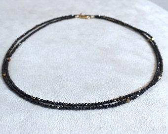 Diamonds Like, Black Spinel Necklace, Black Spinel Bracelet, Charka Necklace, Gemstone Bracelet, tiny beads, 2mm black spinel beads