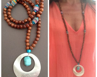 Boho chic long necklace / wood / turquoise / multicolor pearl fabrics / bohemian / boho / hippie chic
