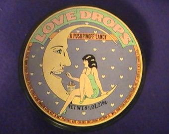 Rare Push Pin Love Drops Tin From 1978