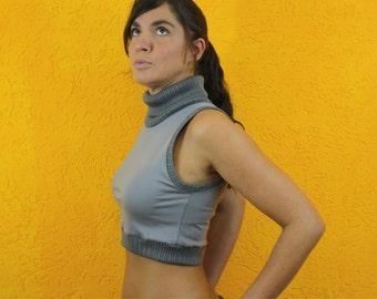 Top cropped gray turtleneck knit Party Festival Streetwear cropped sleeveless jersey Feinstrick