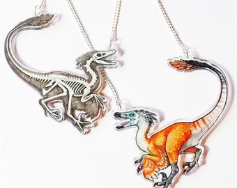 Double sided Velociraptor Acrylic Necklace