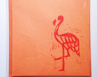 Hand printed Flamingo card -blank