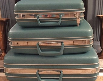 Vintage Samsonite Silhouette luggage blue set of three