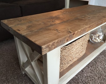Custom Farmhouse Coffee Table   Rustic Coffee Table   Farmhouse Style  Furniture   Living Room Table
