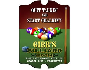 Personalized Man Cave Sign - Vintage Bar Sign - Man Cave Decor - Billiards