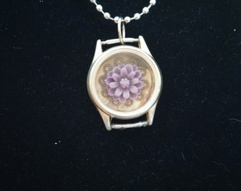 Beautiful Upcycled Flower Pendant