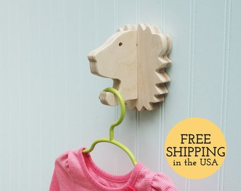 Wall hooks - Lion wall hook: playful wooden lion head wall hanger for coats, bags, hats, & backpacks - safari nursery, lion gift