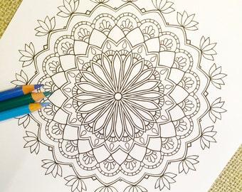 """Mandala """"Pray"""" - Hand Drawn Adult Coloring Page Print"""