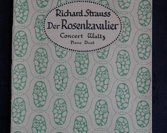 Vintage Piano Duet Sheet Music, Der Rosenkavalier Music, Richard Strauss, Concert Waltz for Piano Duet