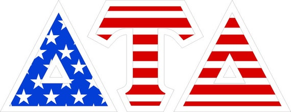delta tau delta american flag giant greek letter sticker