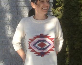 PDF Pattern Aztec sweater raglan for women 3/4 sleeves knitting