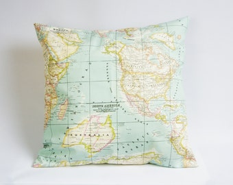 World map pillow cover, atlas cushion cover, throw pillow cover, wanderlust pillow, wedding gift, gift for her, different sizes