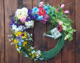 Wreath, Door, Flowers, Ivy, Colorful, Multicolored, Moss, Grapevine, Large, Pink, Green, Tin Can, Fern