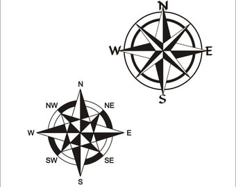 Compass Rose 3 - SVG - PNG - JPEG - dxf - docx - Printable Clipart - Iron on Transfer for Fabric  - Vinyl Cutting - Laser Engraving