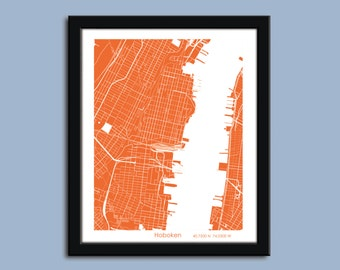Hoboken map, Hoboken city art map, Hoboken wall art poster, Hoboken decorative map