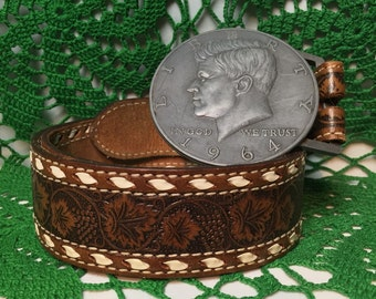 1964 Kenny Half Dollar Buckle & Hand Tooled Leather Belt