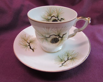 Norcrest Pine Cone Demitasse Cup and Saucer
