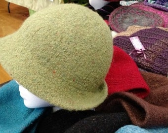 felted  wool tweed cloche hat