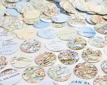 Map paper confetti, wanderlust,  Paper circles Scrapbook confetti, Recycled confetti, Wedding confetti, party confetti, World Atlas confetti