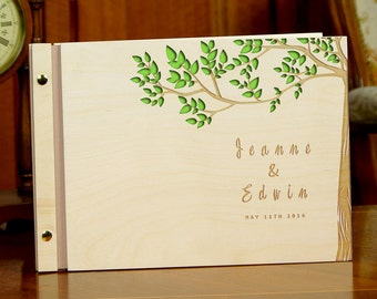 Wedding Guest Book Wooden Tree and Leaves Personalized Wedding Gift Custom Guestbook Rustic Memory Wedding Book