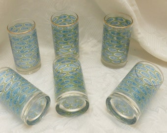 1950s/1960s Blue and Green Drinking Glasses (set of 6)