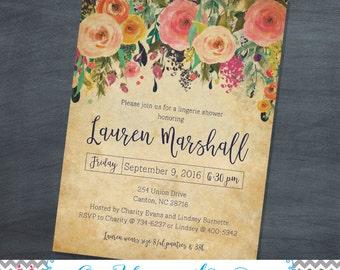 Floral Lingerie Shower Invitations {digital file}