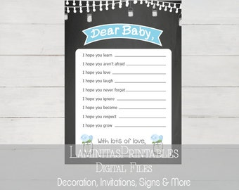Dear baby, wishes for baby, baby shower game, baby shower, printable, mason jar, baby shower games, baby wishes, baby shower activity