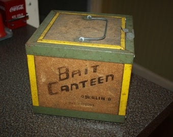 Vintage Cork Oberlin Bait Canteen Fishing Bait Worm Box