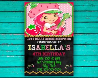 Strawberry Shortcake Birthday Invitation//Chalkboard//pink, green, white yellow invitation//photo//strawberry invitation
