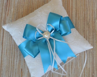 Wedding Ring Bearer Pillow, White or Ivory Wedding Ring Pillow - MALIBU BLUE / Choose your Colors, Pearl Rhinestone Accent
