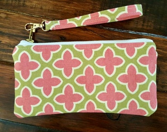 Pink Paisley Purse, Cell Phone Wristlet , Small Handbag